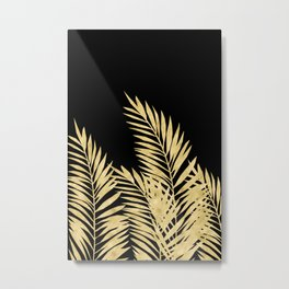 Palm Leaves Golden On Black Metal Print