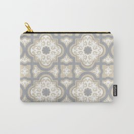 Pastel Grey Beige Mexican Talavera Tiles Carry-All Pouch