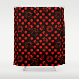 Pattern of red convex balls. Abstract pattern of red spiral circles on a black background. Shower Curtain
