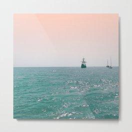 Pirate ship at sea Metal Print