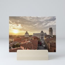 View over Via Santa Maria towards Cathedral and Leaning Tower at sunset, Pisa, Tuscany, Italy Mini Art Print