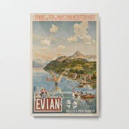 PLM Evian Vintage Travel Poster Metal Print