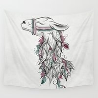 lama Wall Tapestries featuring Llama by LouJah