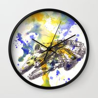 millenium falcon Wall Clocks featuring Star Wars Millenium Falcon  by idillard