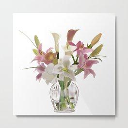 vase and flowers on white background . artwork Metal Print