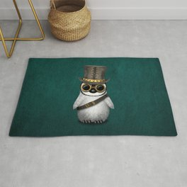 Steampunk Baby Penguin on Blue Rug