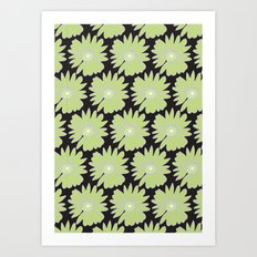 Lime Daisy on Black Art Print