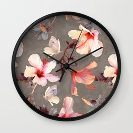 Coral Hibiscus Wall Clock