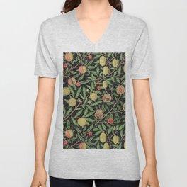 Victorian Textile Design Fruit by William Morris in Black Unisex V-Neck
