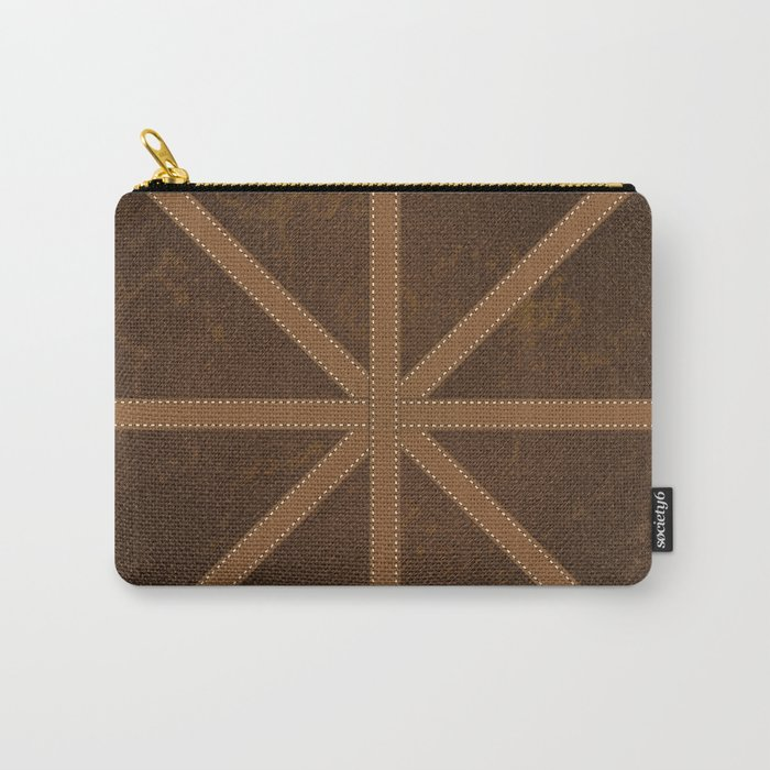 Digitial Faux Brown Leather and Union Jack Cross Design Carry-All Pouch