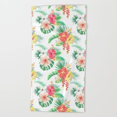 tropical watercolor floral pattern Beach Towel