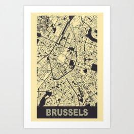 Brussels, Belgium, city map, Peach-Yellow Art Print