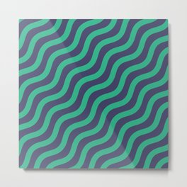 Green Dizzy Chevron Curve Art Metal Print