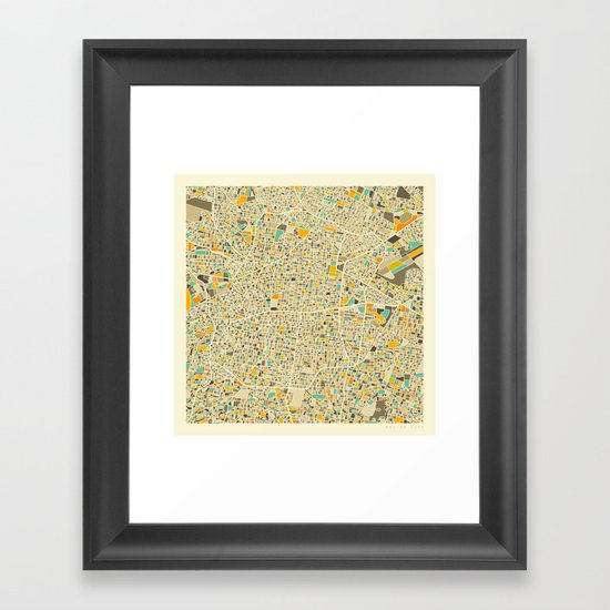 Mexico City Map Framed Art Print