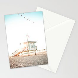 Pelicans Over the 10th Street Lifeguard Tower Stationery Cards