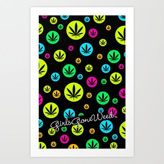 GGDUB - Neon Weed Leaf  Art Print