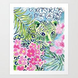Fun Whimsical Preppy Colorful Leopard Art Print