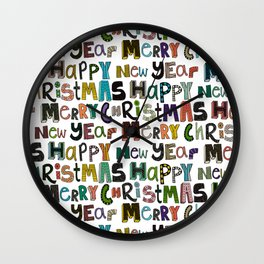 white merry christmas and happy new year Wall Clock