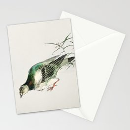 Eastern Turtle Dove and Miscanthus illustration from Pictorial Monograph of Birds (1885) by Numata K Stationery Cards