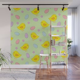 Easter pattern on green Wall Mural