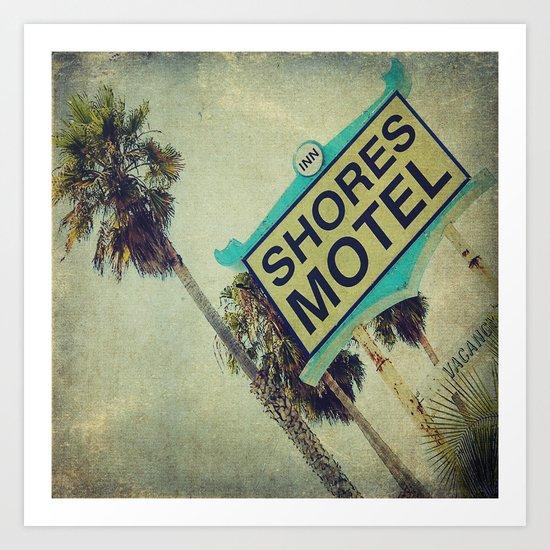 Shores Motel Sign Art Print