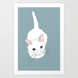 Kitty cat Illustrated Print White Pink Blue Art Print