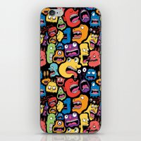 monster iPhone & iPod Skins featuring Monster Faces Pattern by Chris Piascik