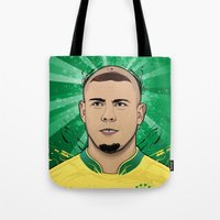 ronaldo Tote Bags featuring Football Legends: Ronaldo R9 Brasil  by Akyanyme