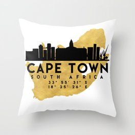 CAPE TOWN SOUTH AFRICA SILHOUETTE SKYLINE MAP ART Throw Pillow