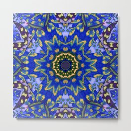 BLUE AND GOLD BUTTERFLY WING CIRCLE Metal Print