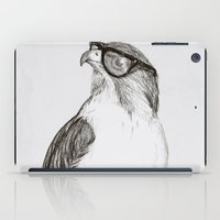 hipster iPad Cases featuring Hawk with Poor Eyesight by Phil Jones