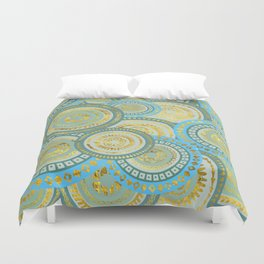 Circular Ethnic  pattern pastel gold blue and teal Duvet Cover