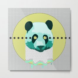 the blue panda who was melting black and white Metal Print