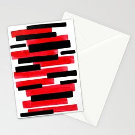 Red Primitive Stripes Mid Century Modern Minimalist Watercolor Gouache Painting Colorful Stripes Stationery Cards