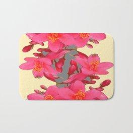 BLACK-PINK FLOWER BLOSSOMS YELLOW SPRING ART Bath Mat
