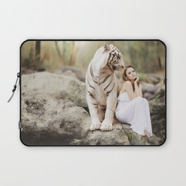White Bengal Tiger With Japanese Woman Laptop Sleeve
