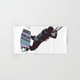 Kite And Surfboard Freestyle Silhouette Vector Hand & Bath Towel