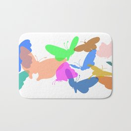 Colorful butterflies on white background Bath Mat