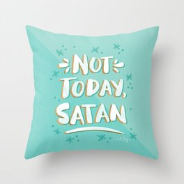 Not Today, Satan – Mint & Gold Palette Throw Pillow