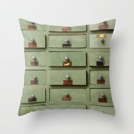 Old wooden cabinet with drawers Throw Pillow