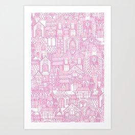 gingerbread town pink Art Print