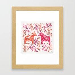 Swedish Dala Horses – Melon Palette Framed Art Print