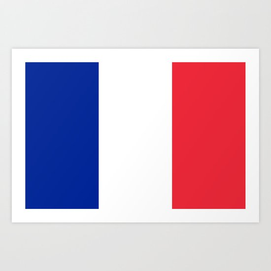 Flag of France, Authentic color & scale Art Print