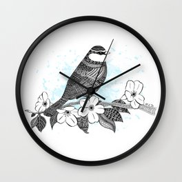 Bird and cherry blossoms Wall Clock