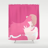lucy Shower Curtains featuring Lucy by Polvo