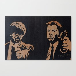 Pulp fiction movie marquetry art Canvas Print