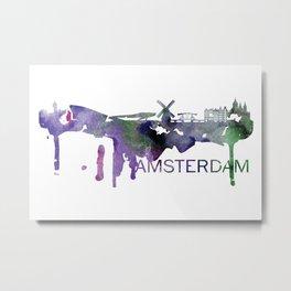 Amsterdam Skyline Watercolor Art Print Metal Print