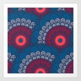 Mandala pattern #12 - turquoise, purple, pink Art Print