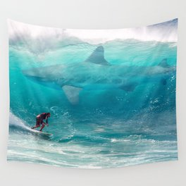 Surfing with a Giant Shark Wall Tapestry