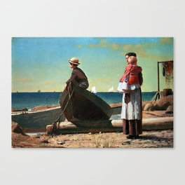 Winslow Homer Dad's Coming Canvas Print